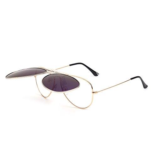de Anteojos Azul Conducir Retro Plateado Polarizados Aviador up Polarizado En Sol Flip Lentes Clip Gafas Hombre Pw6TdqP