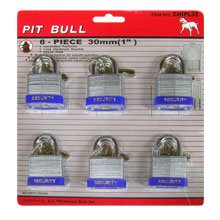 6 Pcs. 30 Mm or 1 Keyed Alike Padlocks Chipl32 Pit Bull