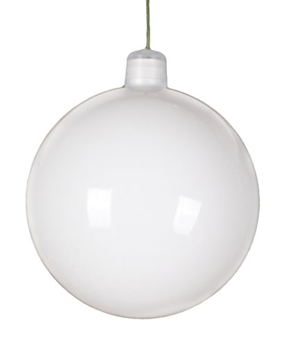 - Queens of Christmas WL-ORN-BLKS-60-WH-UV Shiny Ball Ornament with Wire and UV Coating, 60mm, White