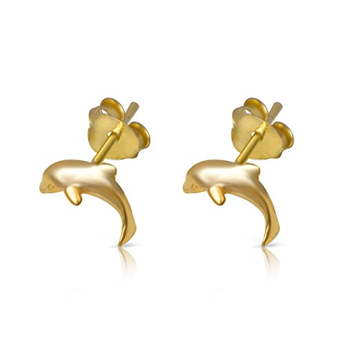 14K Yellow Gold Plated Sterling Dolphin Small Stud Earrings - Nfl Solid Earrings