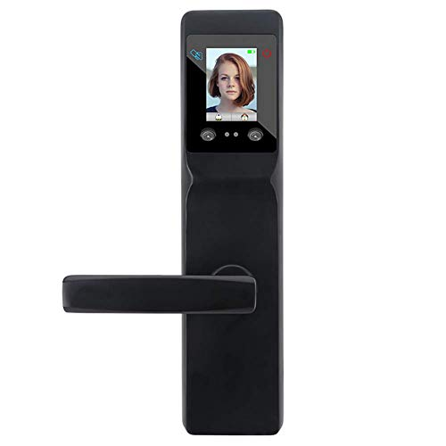 Face Recognition Keyless Smart Door Lock,Digital Electronic Biometric Smart Locks,Intelligent Access Card Unlock + Palm Print Unlock,7-in-1 Unlocking Method,Black ()