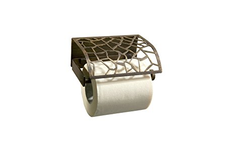 Trencadis Toilet Paper Roll Holder with Lid, Craftsman High Quality Steel Bronze Patina, Bathroom Accessories Tissue Holder, Made in Spain (European Brand) by Hispania bath