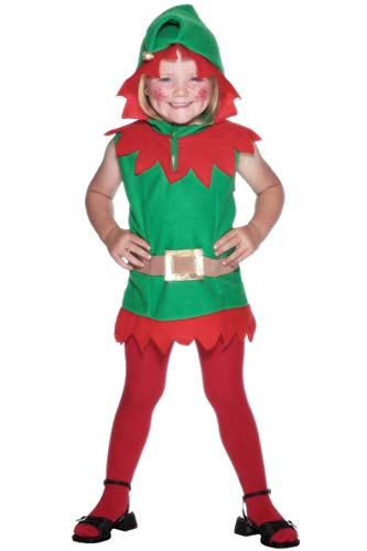 Smiffy's Toddler's Elf Costume, Belt & Tunic, Elf, Size: T1, ()