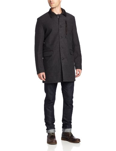 Quilted Peacoat (Vince Camuto Men's Reversible Quilted Wool Coat with Removable Vest, Charcoal,)