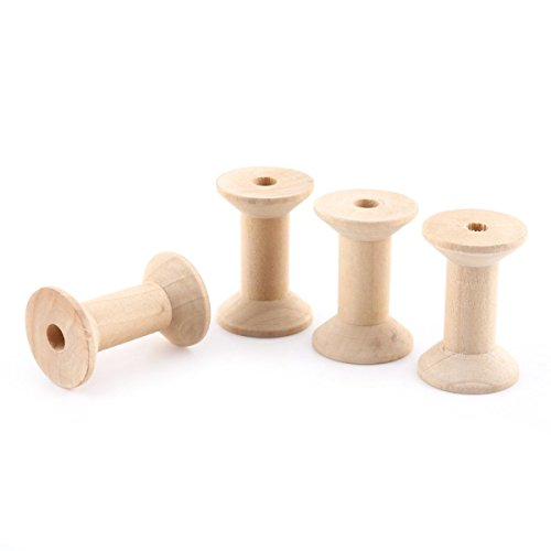 Tacoli- Sewing Thread Spool-10pcs Empty Wire Spools Wooden Bobbin Spools For Thread Wire Natural Color Needlework 47mmx31mm by Tacoli