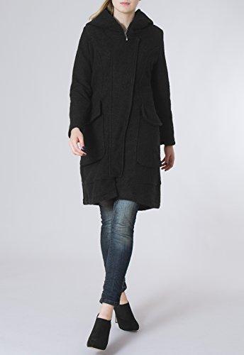 Noir Manteau femme CASPAR pour laine en MTL011 5q1qYS