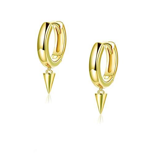 Huggie Earrings Small Spike Hoop Earrings 14k Gold Plated Sterling Silver Dainty Minimalist Earrings