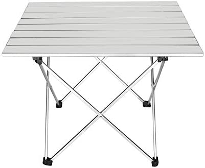 Outry Lightweight Aluminum Folding Table, Portable Camp Table, Outdoor Picnic Camping Backpacking Beach Patio Collapsible Foldable Table Silver, Large – Unfolded 27 x 18.3 x 15.7