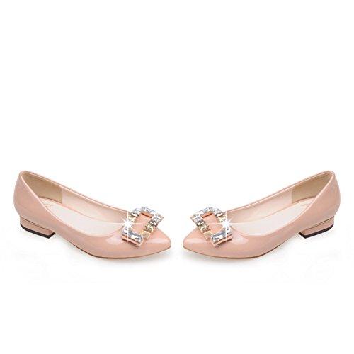 Lado puntiagudo hebilla de diamantes de imitación zapatos de novia/Zapatos de las mujeres embarazadas/bajo fondo plano zapatos D