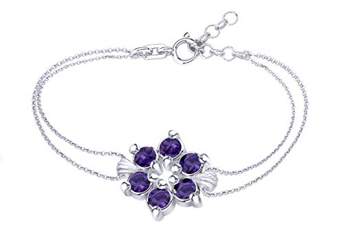 AFFY Round Shape Simulated Amethyst Flower Chain Bracelets in 14k White Gold Over Sterling Silver ()