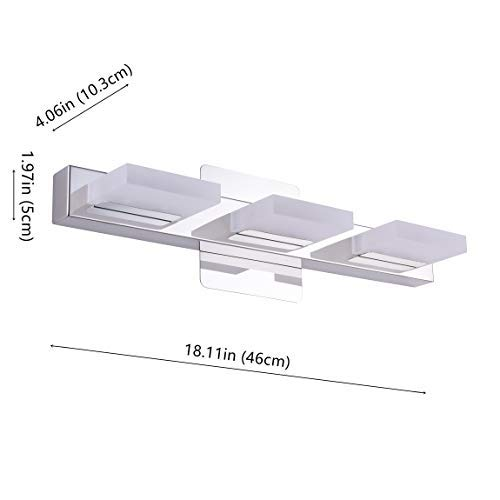 mirrea 18in Modern LED Vanity Light in 3 Lights Stainless Steel and Acrylic 16w Cold White 5000K by mirrea (Image #3)