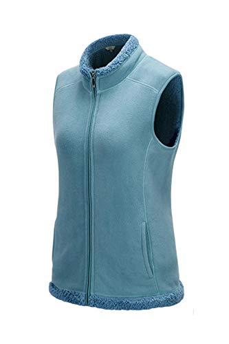 Azul Cremallera Lana Chaleco De Para Casual Zamtapary Mujer Con OH8SS