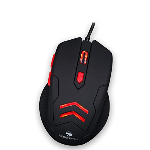Renewed  Zebronics Zeb Feather Optical USB Gaming Mouse with Pad