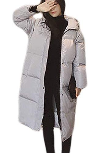 Donna Donna di Chic Invernali Addensare Libero Manica Eleganti Giaccone Lunga Caldo Trapuntato Tempo Trapuntata Sciolto Giacca Outerwear Ragazza Lunga Grey Outdoor Cappotto Moda Incappucciato r7qxvrw