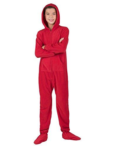 66feb87a5 Footed Pajamas - Bright Red Kids Hoodie Fleece Onesie - Medium ...