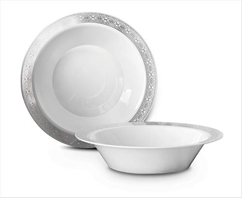 OCCASIONS 120 PACK, Heavyweight Disposable Wedding Party Plastic Plates (14oz Soup Bowl, Palace White/Silver)