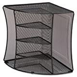 Lorell 95252 Corner Desk Organizer, 10-7/8''x10-7/8 x13, Black Mesh