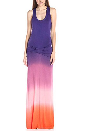 WIWIQS Women`s Tie Dye Ombre Dress Tank Top Casual Maxi Long Dress Purple and Pink 2XL -