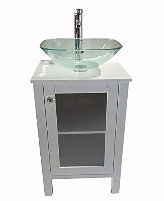 "20"" White Samll Freestanding Wooden Bathroom Vanity Faucet Pop-up Drain Mirror(Square Glass Sink)"
