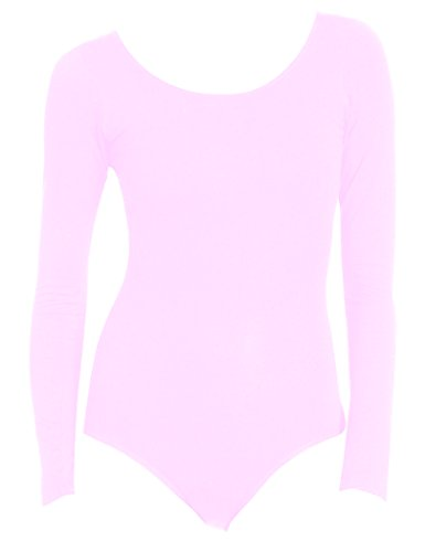 DanceNwear Long Sleeve Nylon/lycra Leotards (Medium, Lt. Pink) ()