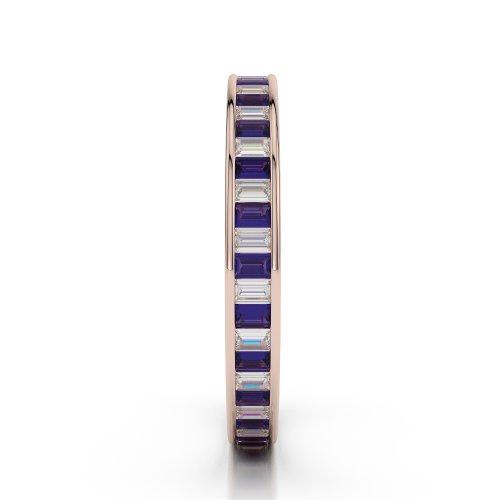 Or Rose 18carats 1.56CT G-H/VS Certifié Coupe ronde tanzanite et diamants Bague éternité Agdr-1138