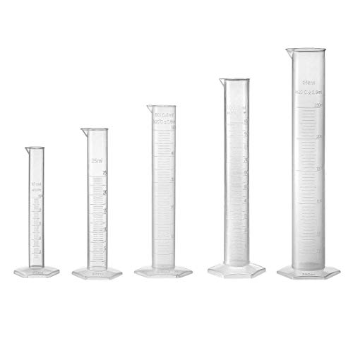 ZCHXD Set of 5 Laboratory Measurements Clear White Plastic Hex Base Graduated Cylinder for Chemical Measuring 10ml 25ml 50ml 100ml 250ml