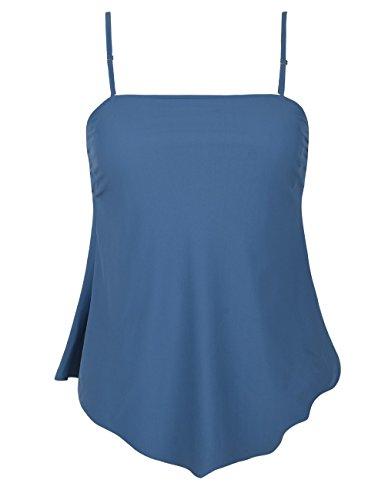 3849e4894a6 Mycoco Women s Flowy Swimsuit Solid Bandeau Tankini Top Irregular Hemline  Swim Top
