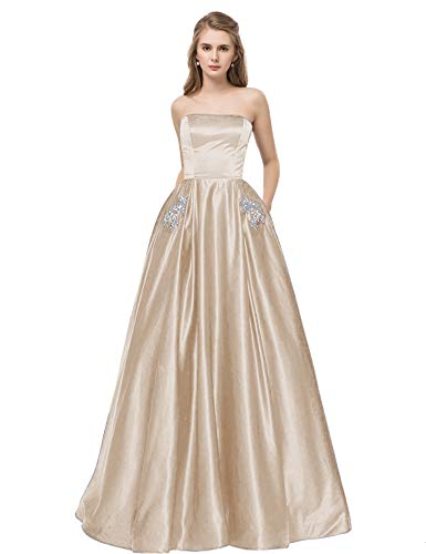 - Libaosha Satin Strapless Formal Gowns with Beaded Pockets Lace Up Back Prom Dresses Long (US6, Champagne)