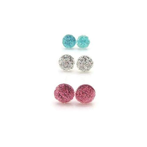 Tiny Glitter Filled Metal-Free Plastic Post Earrings Gift Set Pink, Silver and Blue ()