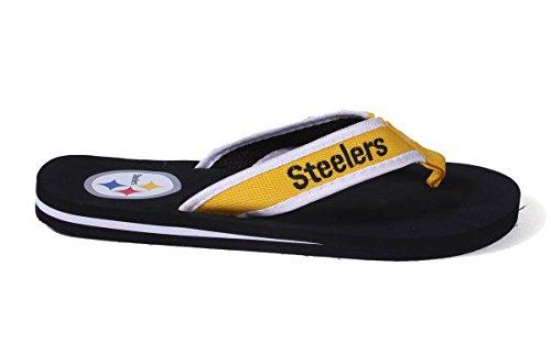 Pour Toujours Collectibles Sous Licence Officielle Nfl Tongs Contour - Pieds Heureux Et Pieds Confortables Pittsburgh Steelers Contour