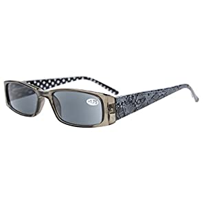 Eyekepper Spring Hinges Polka Dots Patterned Temples Rectangular Reading Sunglasses Sun Readers +1.5