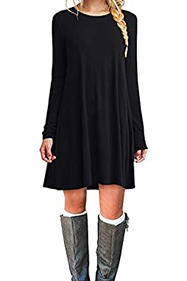 POPYOUNG Women's Long Sleeve T Shirt Dresses Casual Swing Dress