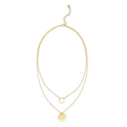 (Aobei Pearl Circle Disk Necklace 18K Gold Chain Choker Layered Karma Full Moon Dainty Minimalist Jewelry for Women)