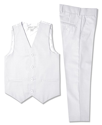 Johnnie Lene Boys Formal Vest and Pants Set #JL42 (6, White) ()