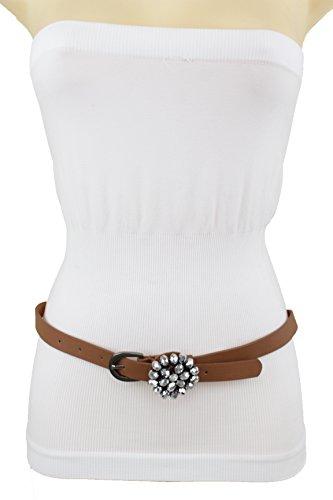 TFJ Women Fashion Skinny Brown Narrow Belt Hip High Waist Beads Bling Buckle Size M L