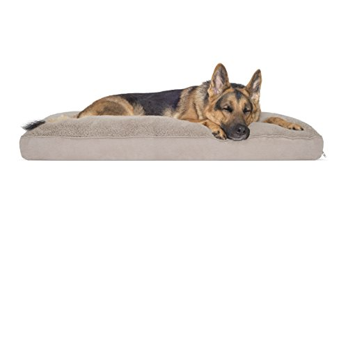 FurHaven Pet Dog Bed | Deluxe Terry & Suede Snuggle Pillow Pet Bed for Dogs & Cats, Clay, X-Large (Snuggle Terry)