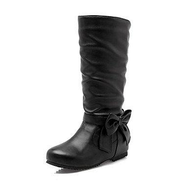 RTRY Zapatos de mujer moda Otoño Invierno Pu Confort cuña botas botas botas de tacón puntera redonda Mid-Calf Bowknot para Office &Amp; Carrera vestido amarillo US12 / EU44 / UK10 / CN46