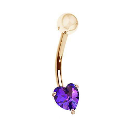 Ritastephens 14k Solid Yellow Gold Amethyst Heart Belly Button Navel Ring Body Art ()