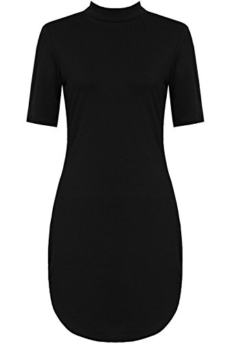 Cap Sleeve Polo Top (Crazy Girls High Neck Cap Sleeve Stretch Bodycon Mini Dress)