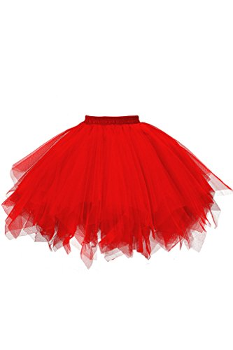 (Musever 1950s Vintage Ballet Bubble Skirt Tulle Petticoat Puffy Tutu Red)