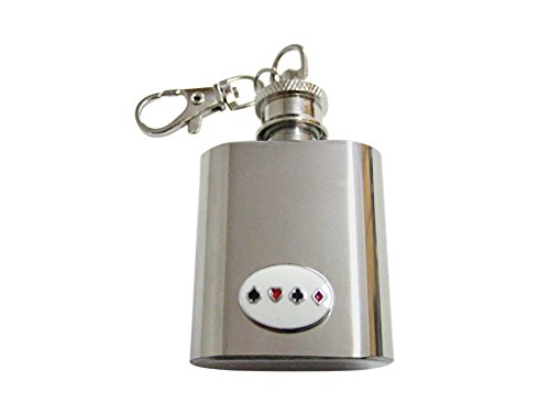 Card Suits Keychains - Gambling Card Suits 1 Oz. Stainless Steel Key Chain Flask