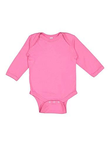 (Infant Baby Rib Long Sleeve Lap Shoulder Creeper by Rabbit Skins - Fuchsia - 6 Mths)