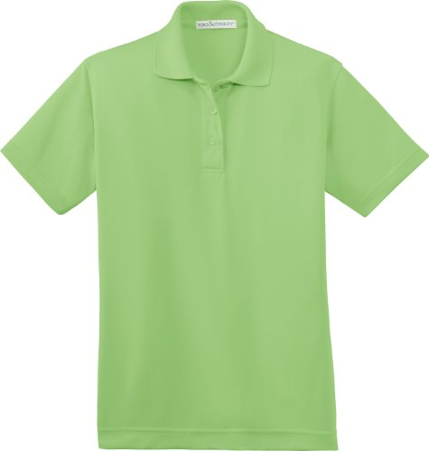 Port Authority Ladies Bamboo - Port Authority Ladies Poly-Bamboo Blend Pique Polo Shirt L497 M Vibrant Green