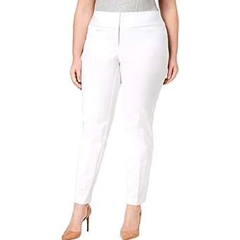 Alfani Womens Plus Tummy Slimming Flat Front Straight Leg Pants - White - 20W