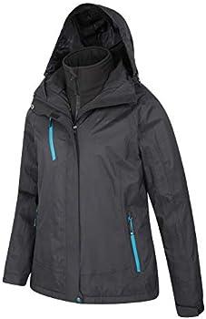 Breathable Rain Jacket Detachable Hood Thermal Tested Raincoat Mountain Warehouse Bracken Extreme Womens 3 in 1 Waterproof Jacket for Winter Camping /& Walking