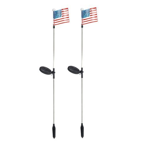 (USA American Flag Solar Garden Stake Light LED Color-Changing, Set of 2)