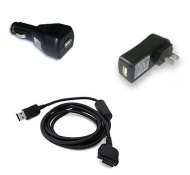 [USB Sync and Charge Cable - Car Charger - Travel Charger Bundle for HP iPAQ 6515/ 6500/ hw6515/ hw6500/ h6300/ h6310/ h6315 (6300/ 6310/ 6315)/ Blackberry 8800, 7130v, 8707g)] (Hp Ipaq 6315 Accessories)