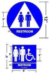 Unisex Restroom Sign Set,(Wall + Door) Signs (Blue/White)