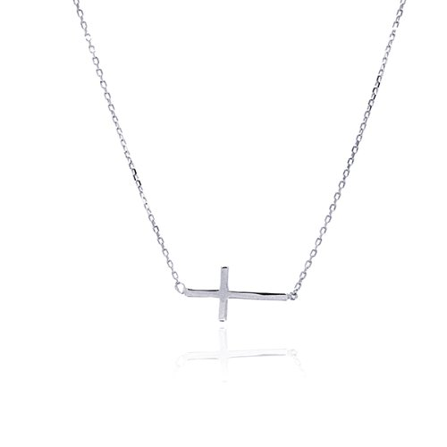 Charms Silver Cross Plated - Rhodium Plated Sterling Silver High Polish Plain Sideways Cross Charm Necklace