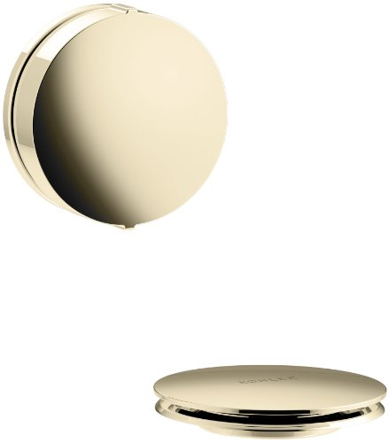KOHLER K-T37392-AF PureFlo Cable Bath Drain Trim with Contemporary Rotary Turn Handle, Vibrant French Gold